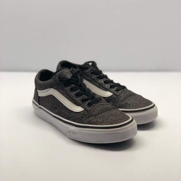 Girls size 2 Vans Iridescent Black shoes